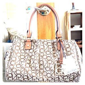 💕 Calvin Klein tan brown large satchel nwt $148💕